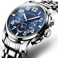 DEFFRUN Calendar Moon Phase Automatic Mechanical Watches Stainless Steel Men Watches Blue