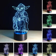 Farfi 7 Colors Change Touch Switch 3D Table LED Light Night Lighting Home Decoration Black Base