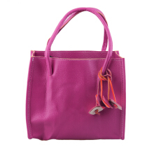 [LESHP]Modern Design Women PU Handbag Fashion Shoulder Candy Color Cut Flowers Tote Rose Red