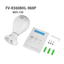 Bulb WiFi Panoramic Camera 1.3MP 960P Motion Sensor Home Security IP Camera clear & white