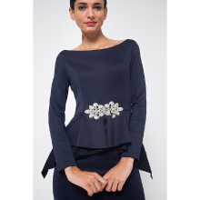 LOVE BONITO Tiara Peplum Maxi Dress - Navy Blue - M