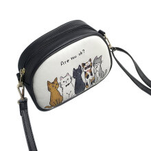 [LESHP]Korean Fashion Cute Cartoon Printed Women Single Shoulder Bag PU Leather Multicolor