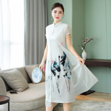 Allgood Fashion Summer Women Dress Chinese Style Dress Retro Comfortable Big Pendulum Long Dresses