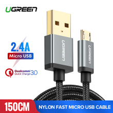 UGREEN Nylon Braided 150CM Micro USB Cable for Samsung Xiaomi Redmi LG ASUS Zenfone VIVO OPPO handphone hp 5V2A Fast Charger USB Data Cable Grey