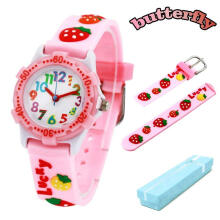 Keymao Strawberry Waterproof 3D Cute Cartoon Silicone Wristwatches Gift for Little Girls Boy Kids Children Pink