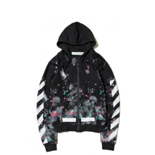 Off White Diag Galaxy Brush Zip Hoodie - Black