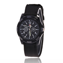 SANDA Men Quartz Watch Army Soldier Military Canvas Strap Sports watch Hitam