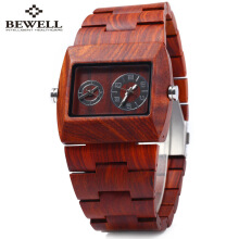 BEWELL ZS - W021C Men Quartz Watch Wooden Rectangle Dial Wristwatch