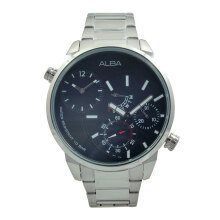 ALBA Jam Tangan Pria - Silver Black - Stainless Steel - A2A003