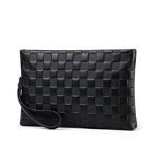 AIM S016 Simple large-capacity clutch bag leather envelope bag male hand bag holder bag-Black