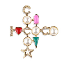 Jantens 2018 New Style Creative Letter Cross Brooches for Women Colorful Corsage Pin Party Jewelry Gold