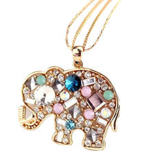 Farfi Multicolor Rhinestone Elephant Necklace Long Chain Party Jewelry Sweater Decor Golden