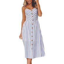 Women Sexy Stripe Buttons Off Shoulder Sleeveless Dress Princess Dress_Blue_S