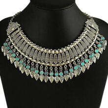 Farfi Women Retro Carved Tassel Statement Bib Collar Necklace Ethnic Jewelry Gift as the pictures