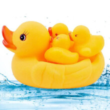 Jantens Baby love bathing 4 piece set mom and baby yellow duck bathing toy rubber celluloid duck fun game toy Yellow