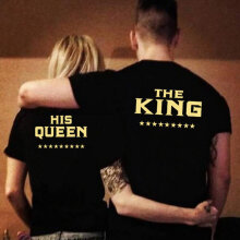 Couple T-Shirts Printed Letter Short Sleeve Tops Tee Casual T-Shirt KING QUEEN black S