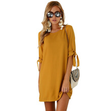 Jantens Ladies Casual Shirt Dress Summer Autumn Half Sleeve Round Neck Chiffon Dress