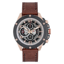 Expedition E 6752 MC LBRBA Man Chronograph Black Dial Brown Leather Strap [EXF-6752-MCLBRBA]