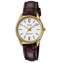 Casio General LTP-V005GL-7BUDF White Dial Brown Leather Strap Brown