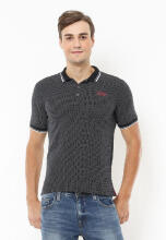 Johnwin - Slim Fit - Polo Active - Corak Titik - Hitam