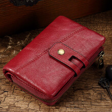 Zanzea Women Men Genuine Leather Vintage Purse Multi-slots Wallet Card Holder Coin Bag Red
