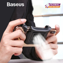 Baseus Gamepad Joystick Gaming Trigger Fire Button Handle For PUBG Andriod IOS Handphone HP Game Shooter Controller & Cooler Fan - Black