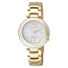 Citizen EM0336-59D Eco-Drive Ladies White Mother of Pearl Dial Gold Stainless Steel Strap [EM0336-59D]
