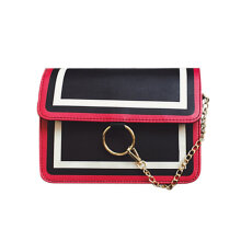 [LESHP]Geometry Women Shoulder Bag Matching Color Crossbody Waterproof PU Black