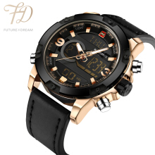 PEKY NAVIFORCE Original Luxury Brand Leather Quartz Watch Black Gold