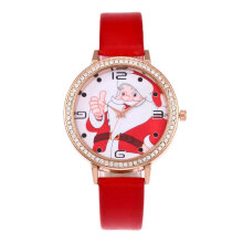 Rhinestone Decoration Santa Pattern Quartz Movement Wrist Watches Trendy Watch Red