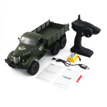 COZIME JJR/C Q60 1/16 2.4G 6WD RC Off-Road Military Truck Transporter Car Toy Green