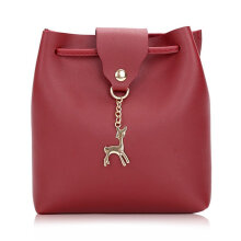 [LESHP]Fashion Deer Pendant Decoration Women Bucket Bag Shoulder Crossbody Red