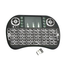 COZIME I8 Handheld Touch Panel Tricolor Backlight Keyboard Mini Wireless Black