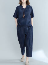 Zanzea Casual Striped Navy Two-piece Outfits for Women Navy XXL
