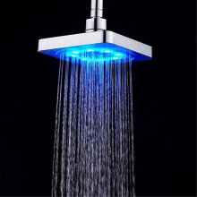 [OUTAD] Square Shape Colorful 7 Color Changing LED Shower Head Top Sprayer for Home Silver
