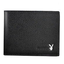 Playboy PAA2323-6B Men's multi-functional short wallet Cowhide leather cross section multi-card casual men's wallet-black