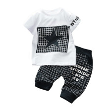 BESSKY 2Pcs Infant Kid Boys Girl Letter Star Print Plaid Tops+Pants Outfits Clothes Set_