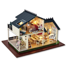 Jantens Doll Houses Wooden Doll House Unisex dollhouse Kids Toy Furniture Miniature crafts Photo Color