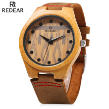 REDEAR SJ1448 - 5 Wooden Female Quartz Watch Special Pattern Dial Leather Strap Wristwatch  Brown