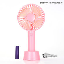 [OUTAD] USB Handheld Air Conditioner Cooling Fan Summer for Home Office Pink Fan + Cable, Fan + Cable + Battery