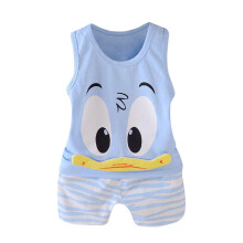 BESSKY 2Pcs Toddler Baby Girls Boys Cartoon Vest Tops T Shirt Shorts Outfits Set_
