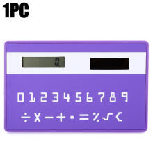 Shengmeiid 1PC Mini Slim Credit Card Pattern Solar Power Pocket Calculator PURPLE