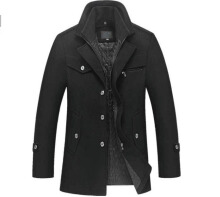 ESG New Winter Wool Coat Slim Fit Jackets Mens Casual Warm Outerwear Jacket and coat Men Pea Coat Size M-4XL Black 4XL