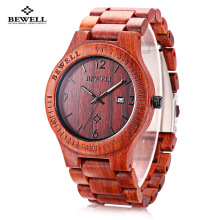 ZS - W086B Wood Men Watch Analog Quartz Movement Date Display Wristwatch