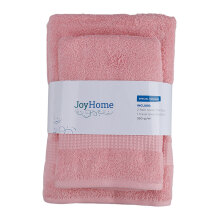 JOYHOME  Woven Piece Dyed Terry Towel With Dobby Border BUY 2 GET 1 ( 2 Bath + Free 1 Travel Towel) - PINK