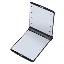 [COZIME] Folding Portable Make Up Mirror Lady Cosmetic Mirror Built-in LED Bulbs Mirror Black1
