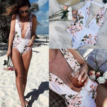 Farfi Women Sexy Summer Floral Swimwear Beachwear One-piece Swimsuit Bathing Suit White XL