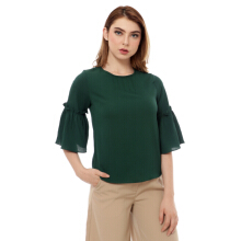 KORZ Ruffles Sleeve Blouse With Pintucked Neckline