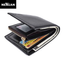 Newlan Mens Wallet Small Fashion High Quality PU Leather Wallet Soft Purse Black
