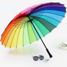 Free Shipping Fashion Women parasol Rainbow Umbrella Big Long Handle Straight Colorful Umbrella colorful